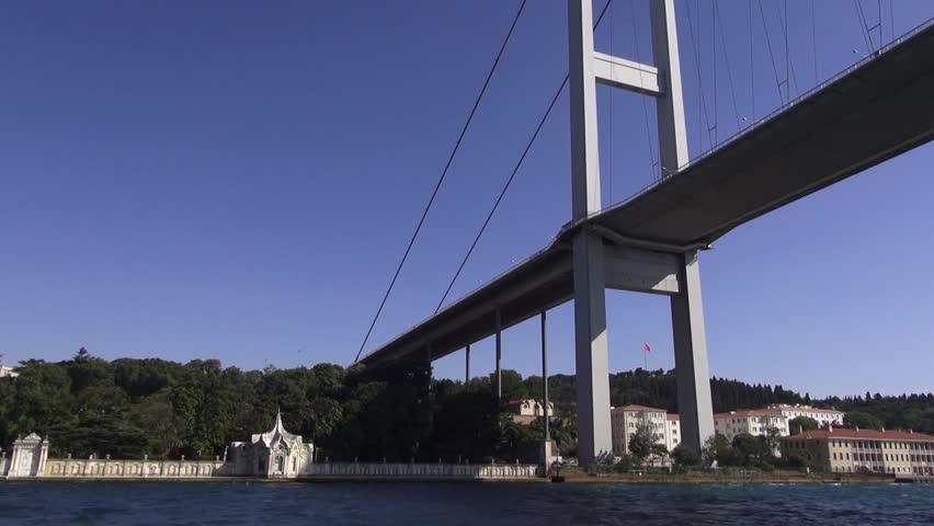 View of Bosphorus,  Istanbul, Turkey, on July 20, 2013. pov riding in boat under the bridge.