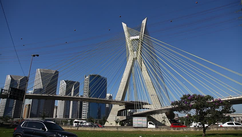 Ponte Estaiada bridge built over the Pinheiros River in the city of Sao Paulo, Brazil, is the Octavio Frias de Oliveira bridge, a cable stayed bridge.