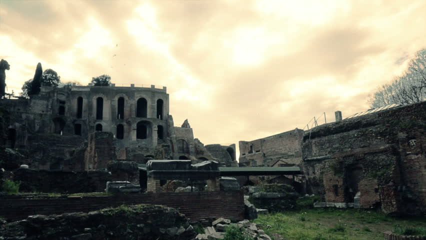 Ruins of roman buildings surrounded by vegetation. Effect cinema