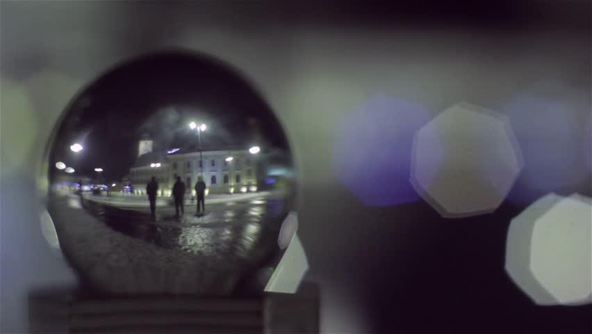 Night treet seen through the glass globe.    Shutterstock HD Video #4354556