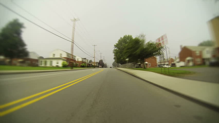 Time lapse view of driving through the small Western Pennsylvania town of