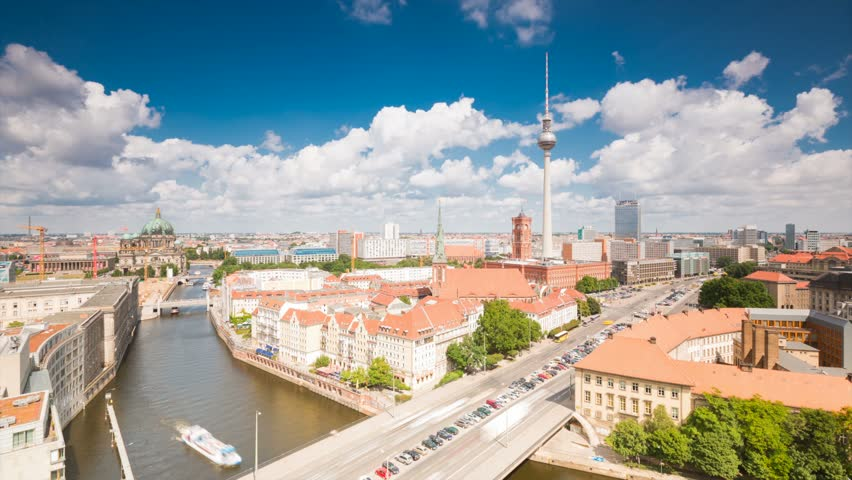 Berlin Skyline City Timelapse with Traffic on Street, River and cloud Dynamic in Full HD 1080p, German Capital