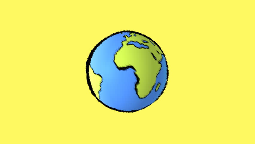 Cartoon Earth With Yellow Background Stock Footage Video
