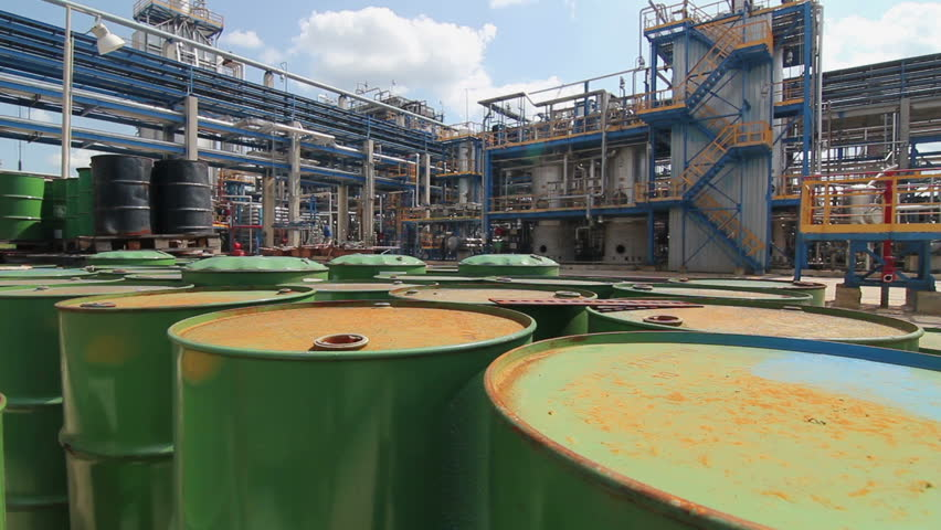 barrels of fuel and oil at the refinery