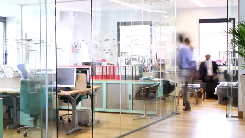 Time lapse shot of a young and attractive business team of mixed ethnicity, working together in a busy contemporary office.