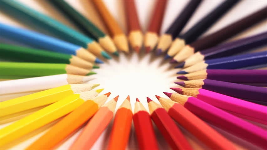 colored pencils on white background, closeup, rotating stock, Powerpoint templates