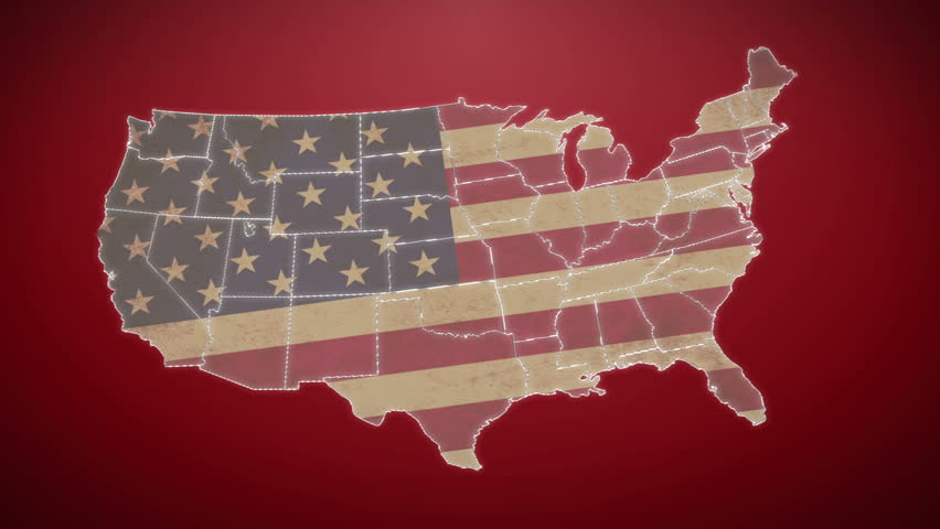 Separated United States Map With Us Flag Red Background Hd Stock Video Clip