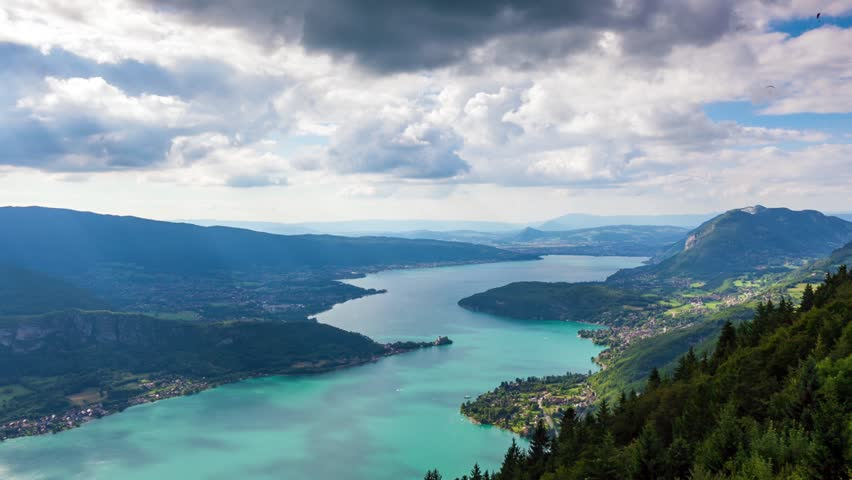 Timelapse View of the Annecy lake from  Col du Forclaz