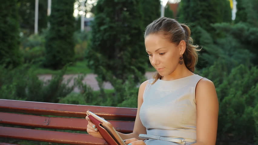 Young Beautiful Nice Girl Sitting Stock Footage Video 100