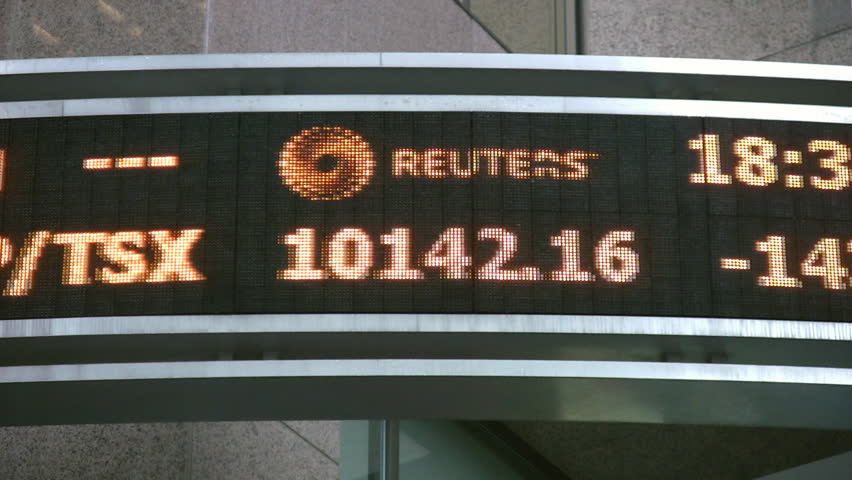 TORONTO - MAY 27: Reuters stock ticker in downtown Toronto, May 27, 2009. The current recession has caused Canadian markets to drop in value.