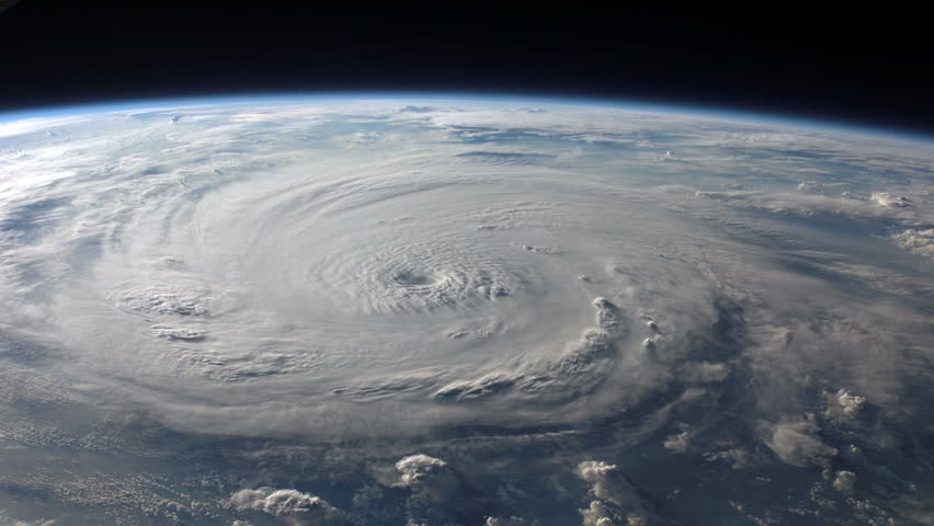 Satellite view of a large hurricane / typhoon with a well defined eye. (Elements furnished by NASA)