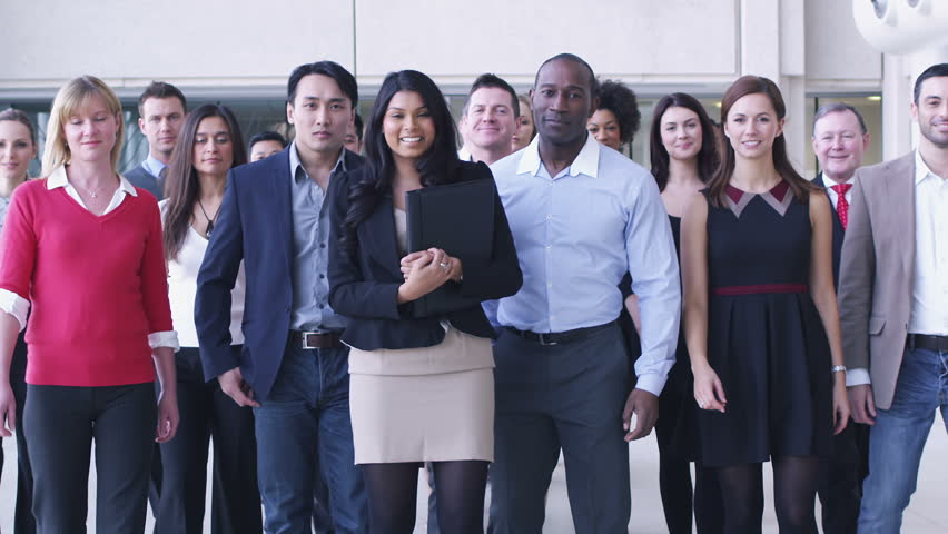Portrait of young diverse business team at work. Large business organization in corporate building. | Shutterstock HD Video #4479218