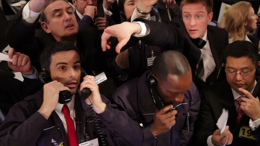 Crowd of financial traders in a Stock Exchange. Business people trading stocks and shares on an international scale. Trading currency, stocks and bonds. | Shutterstock HD Video #4485224