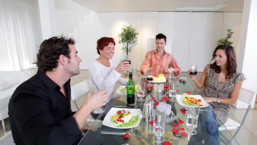 Dinner Party Video Part - 18: Group Of Family Or Friends With Nice Lifestyle Sit Down For A Dinner Party  In Their