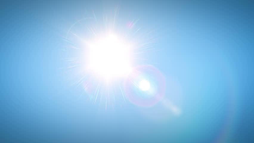 Sun moving across the clear blue sky. HD 1080.