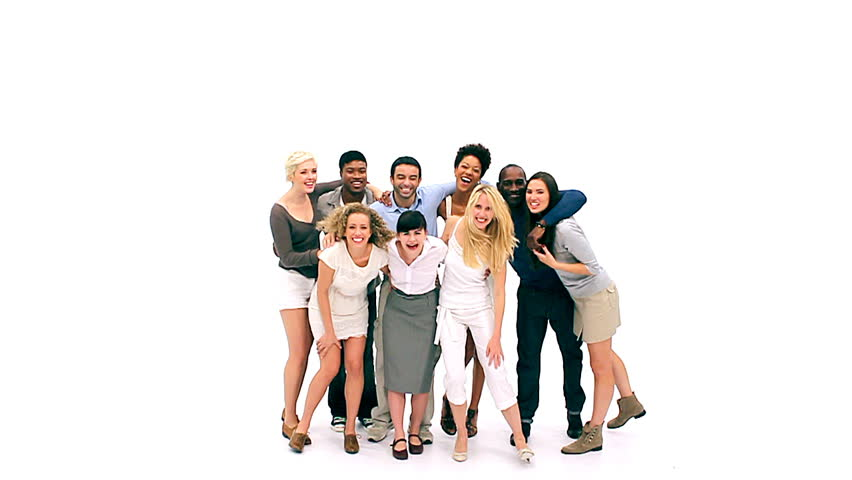 Jumping for joy - Group of young adults coming together to form a happy close group of individuals. Shot in large white studio.