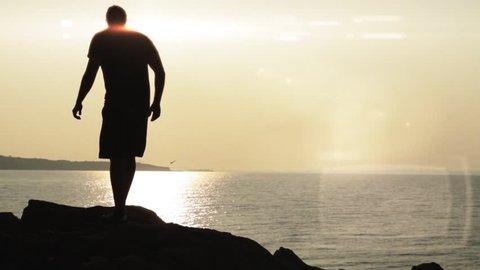 Sunet Beach Man silhouette Opportunity Looking Walking Rocks
