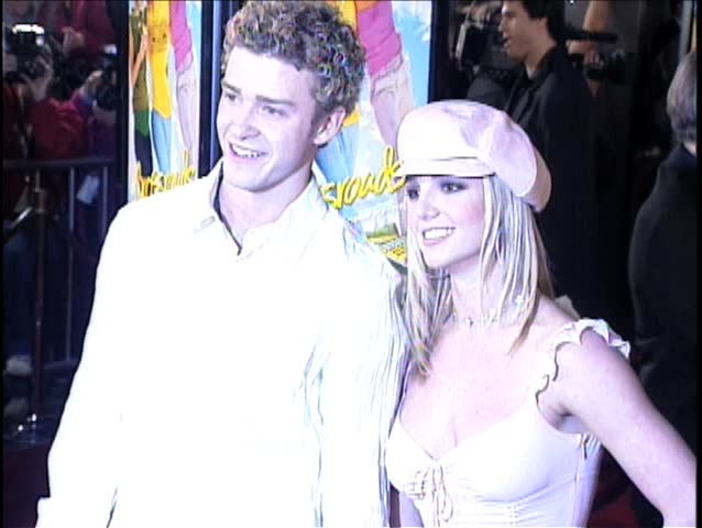 HOLLYWOOD - February 11, 2002: Britney Spears and Justin Timberlake at the Crossroads Premiere in the Grauman's Chinese Theatre in Hollywood February 11, 2002