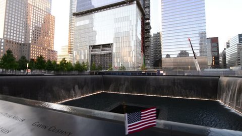 NEW YORK CITY - JUN 13: NYC's 9/11 Memorial at World Trade Center Ground Zero seen on June 13, 2013. The memorial was dedicated on the 10th anniversary of the Sept. 11, 2001 attacks.
