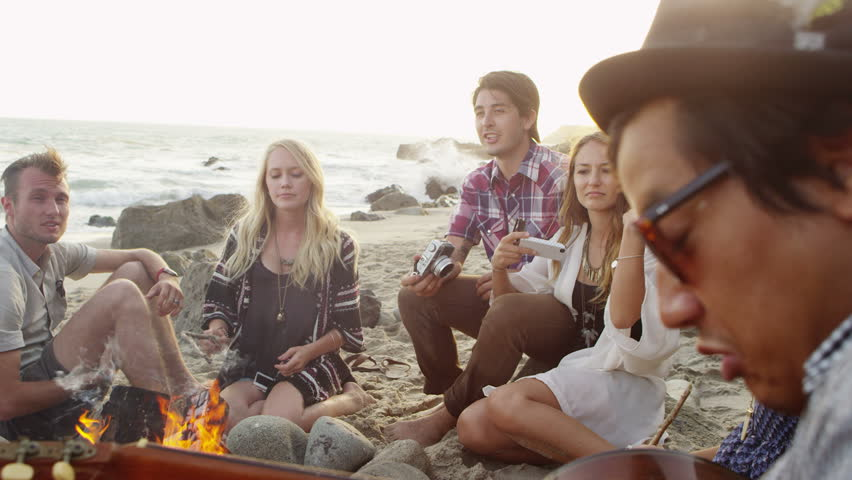 Group of young people at the beach stock footage video for Hanging groups of pictures