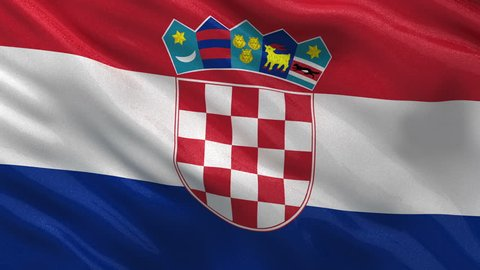 Seamless loop of the Croatian flag gently waving in the wind. High quality, glossy fabric material.