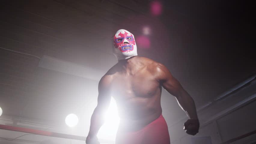 Masked wrestler in boxing ring