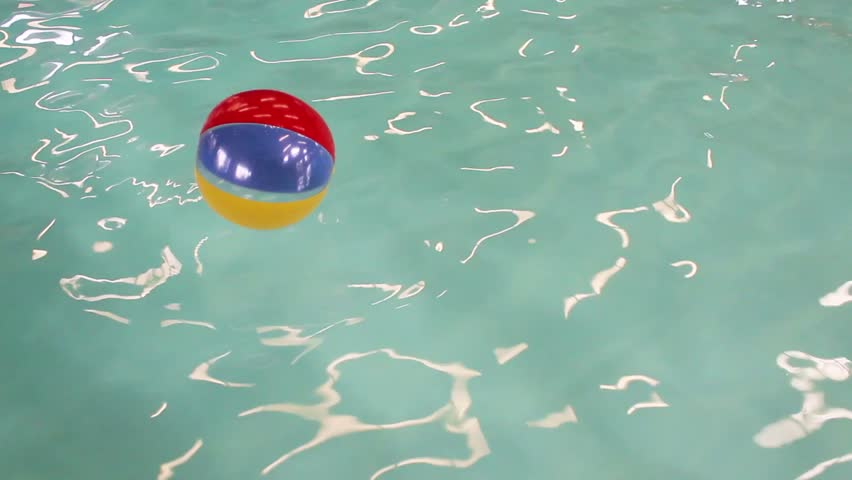 Swimming Pool Beach Ball Background beach ball loop. colored beach ball spinning slowly in loop. with