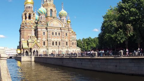 Russia. Saint-Petersburg. Sunny weather. Church of the Savior on Blood. The view from the Griboyedov Canal. Timelapse