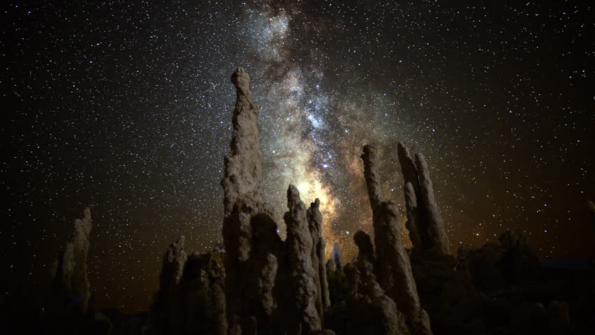 Astrophotography Time Lapse of Milkyway & Tufa Formation in Mono Lake -Tilt Up