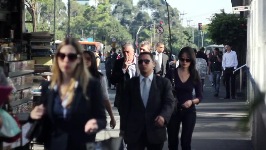 SAO PAULO - CIRCA 2013: People Walking in Sao Paulo - Paulista Avenue 2013