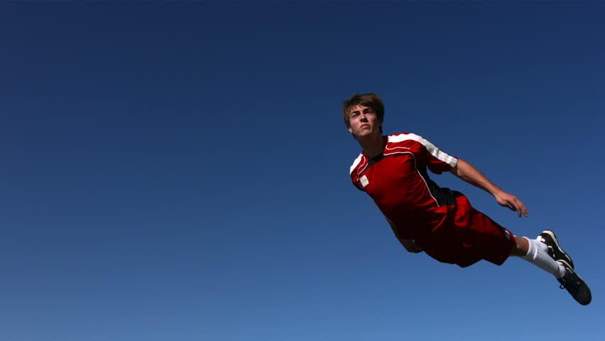 Soccer header mid-air, slow motion #4656176