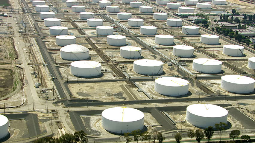 Aerial shot of storage tanks at oil refinery