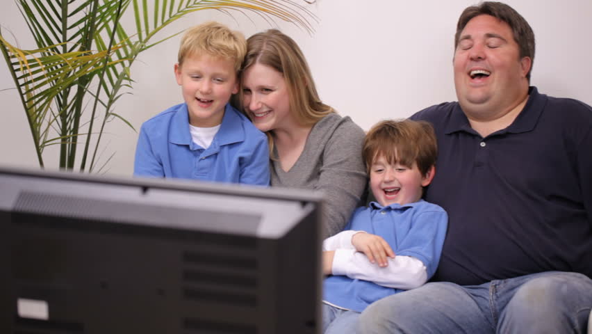 family watching tv together stock footage video 100