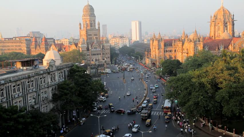 Mumbai cityscape with traffic congestion near Heritage buildings and Victoria Terminus statoin in Mumbai, India