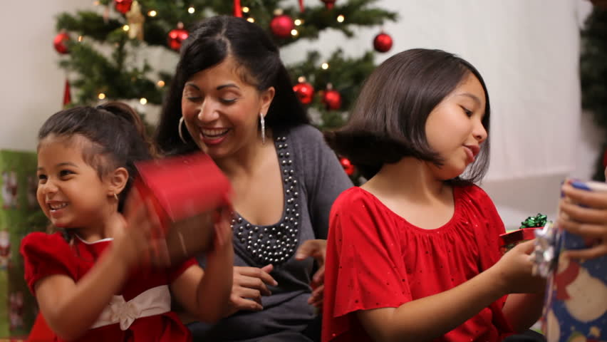 Hispanic Family Together At Christmas Stock Footage Video 4665296