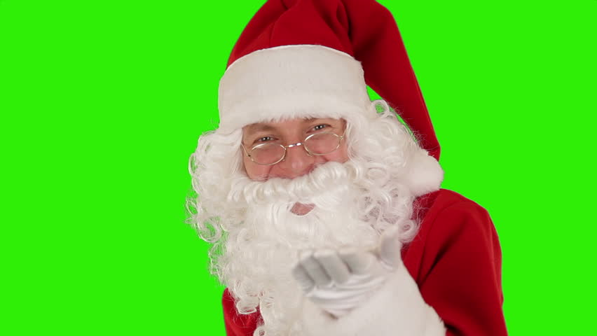 Santa Claus Presenting a Tablet then sending a Kiss and saying Bye Bye, Green