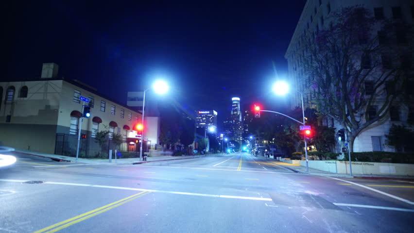 Intersection Traffic Timelapse 03 Loop LA Downtown Skyline Night | Shutterstock HD Video #4670516