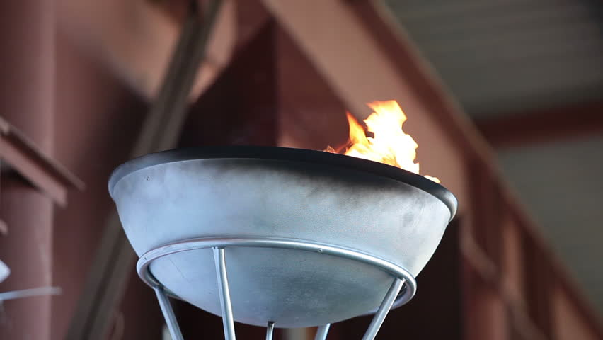 Olympic flame in bowl
