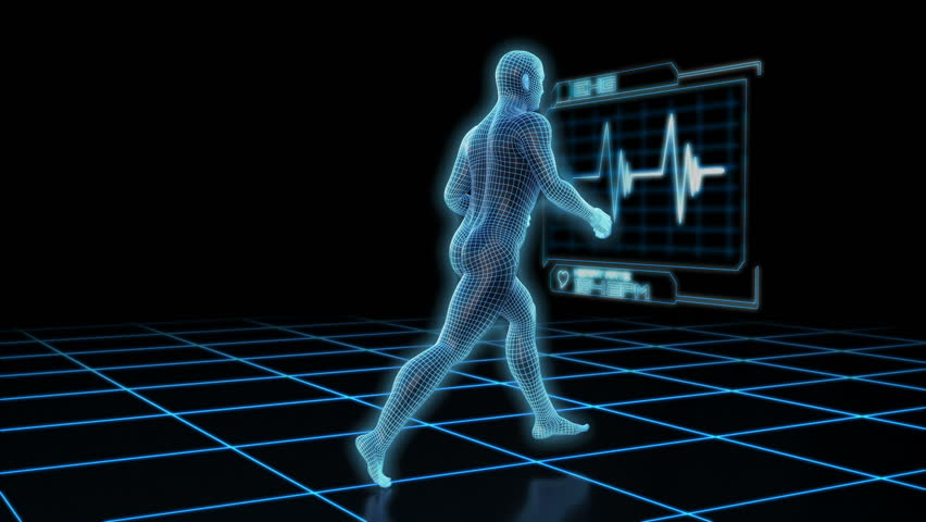Wire frame man running with EKG monitor in front of him. Wide shot.