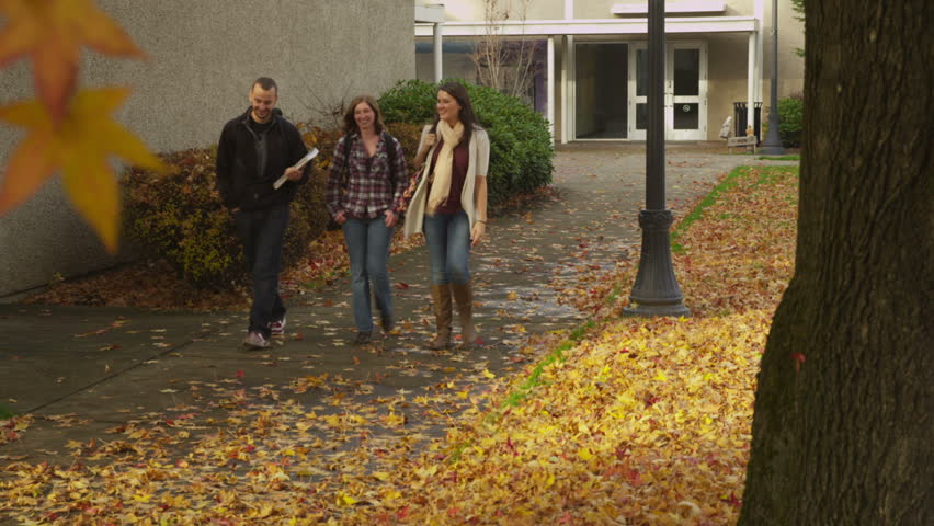 Three college students walking together on campus