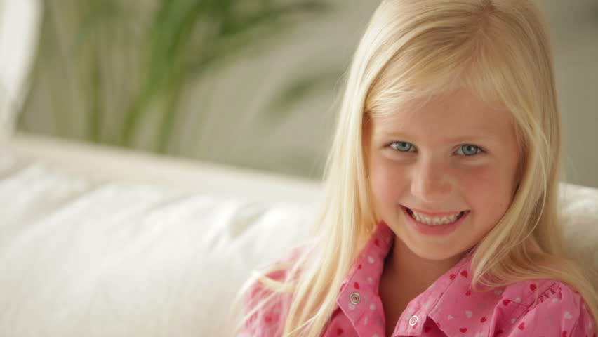 Pretty Face Little Girl Dreamily Sitting Smiling By The Window Stock Footage Video -2127