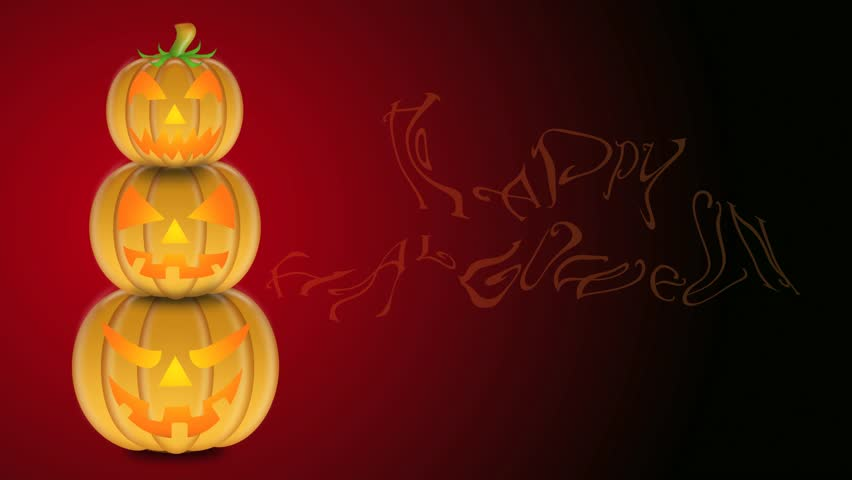 flickering candle lights in stacked carved pumpkins with happy halloween text on red and black background - Halloween Background Video