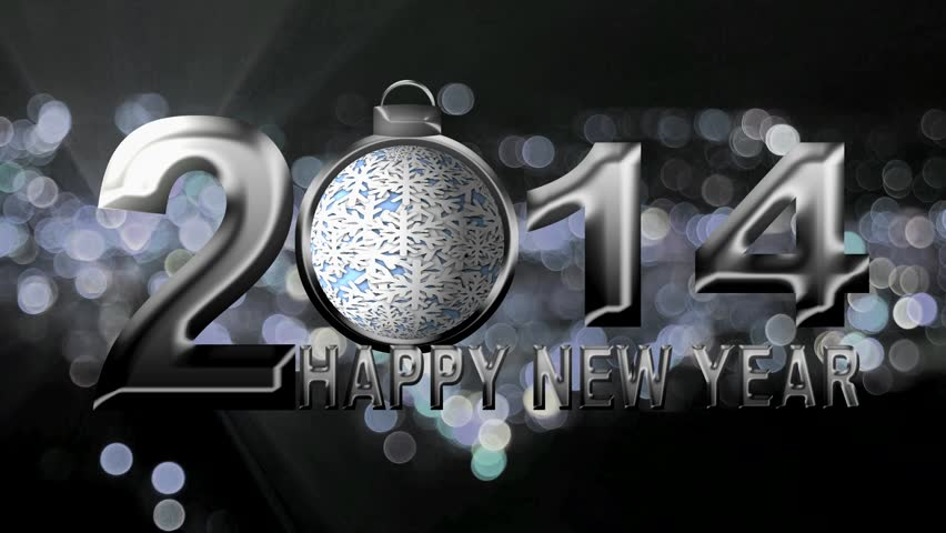 2014 Happy New Year Text with Spinning Snowflake Ornament on Silver Sparkly City Bokeh and Flashing Lights Background   Shutterstock HD Video #4734704