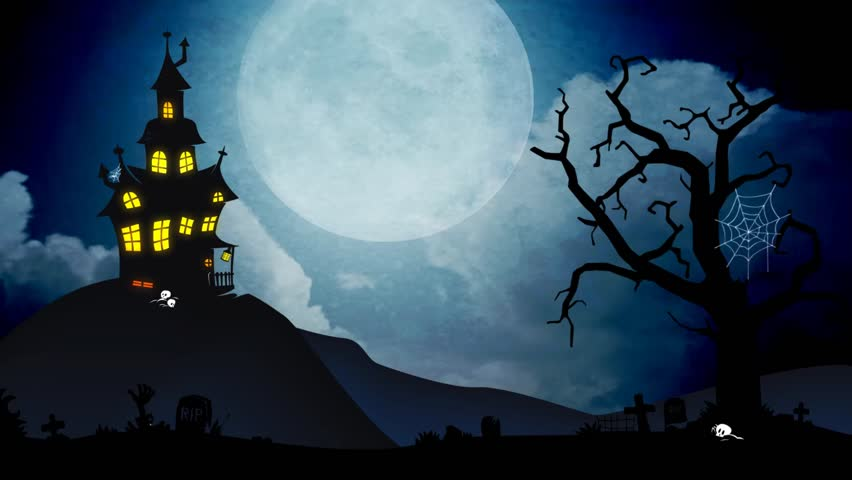 Stock video clip of a spooky background of a haunted house - Scary animated backgrounds ...