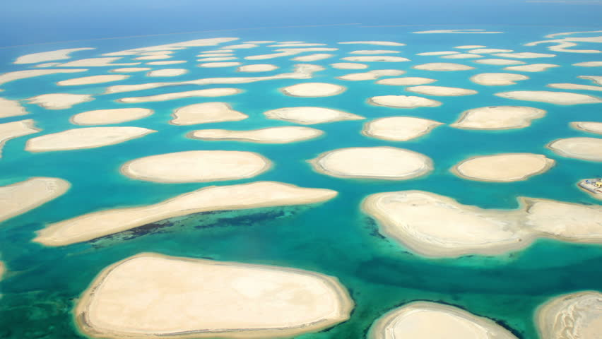 Aerial shot of the World Islands Dubai, Unite Arab Emirates