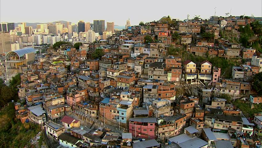 Aerial view of favela and city, Rio de Janeiro, Brazil