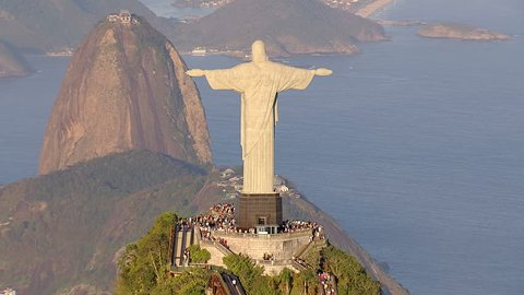 Aerial view of Christ the Redemeer Statue and sugarloaf mountain, Rio de Janeiro, Brazil