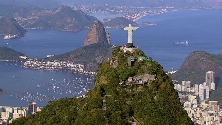 Aerial view of Christ the Redeemer and Sugarloaf,...
