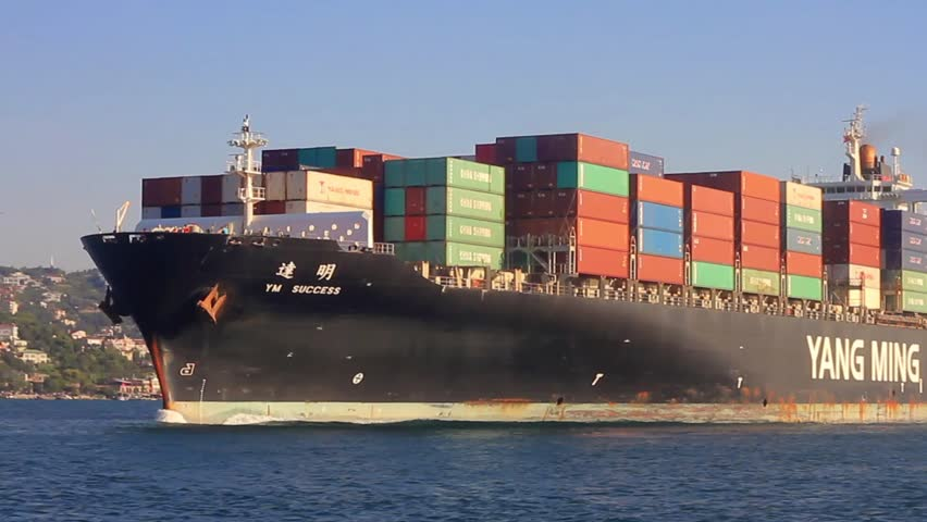 ISTANBUL - AUG 2: YANG MINGs cargo ship on August 2, 2013 in Istanbul. Yang Ming