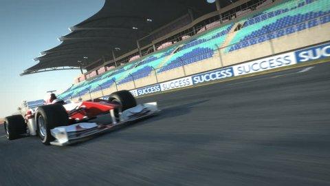 Formula One race car speeding along home stretch - high quality 3d animation - visit our portfolio for more